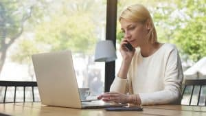business woman working remotely